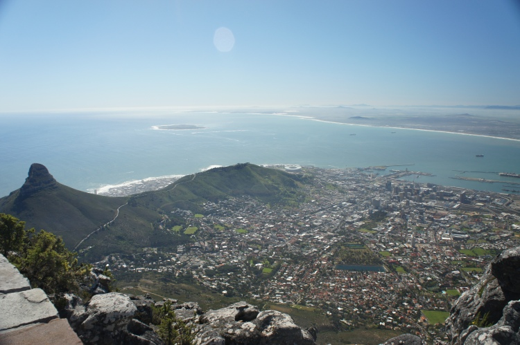 View of Cape Town (Lion's Head on the left, Signal Hill on the right) after a 2 hour hike to the top of Table Mountain